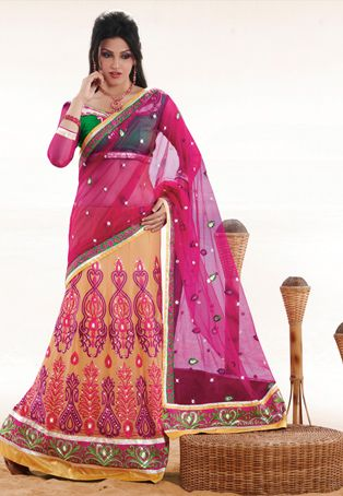 Dark pink and peach resham,stone and patch border work net and faux georgette lehenga style saree. data-pin-do=