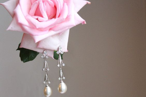 Vintage Pearl and Rhinestone Drop Earring - Ivory White - wedding accessory, bridal accessories, jewelry. $70.00, via Etsy.
