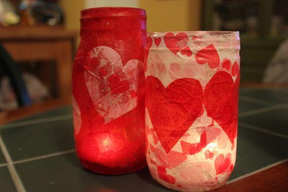 Valentine's Day votive jars: