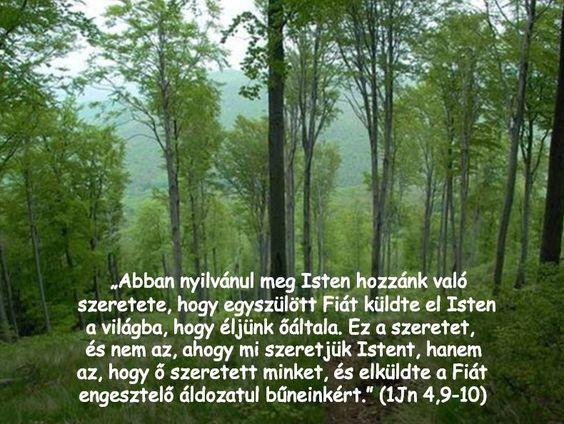 """1János 4:9 - az Újfordítás szerint: """"Abban nyilvánul meg Isten hozzánk való szeretete, hogy egyszülött Fiát küldte el Isten a világba, hogy éljünk őáltala."""""""