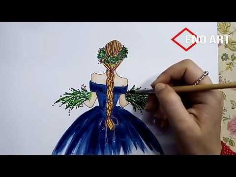 رسم فتاه بضفيرة تحمل باقة ورد بالالوان المائيه للمبتدئين تعليم الرسم Youtube Christmas Bulbs Christmas Ornaments Holiday Decor