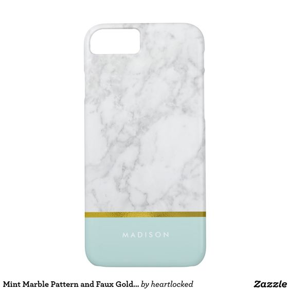 Mint Marble Pattern and Faux Gold Foil iPhone 7 Case