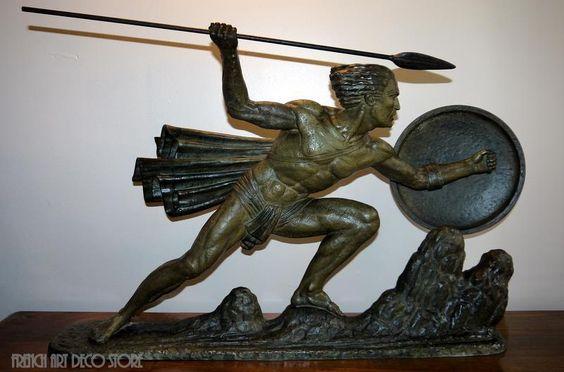 Bouraine French Art Deco Warrior King C1925 | eBay