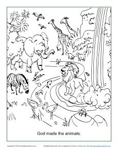 God Made The Animals Coloring Page Animal Coloring Pages Sunday School Coloring Pages Creation Coloring Pages