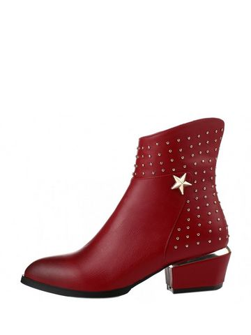 Sleek Studs Suede Solid Color Irregular Heel Ankle Boots