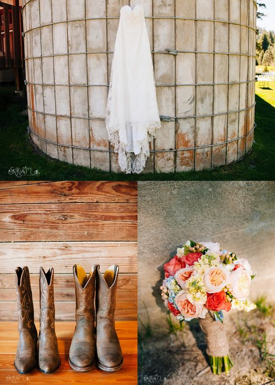 Country Chic Barn Wedding | Cowboy Boots, Deer Antlers, Rose Bouquets