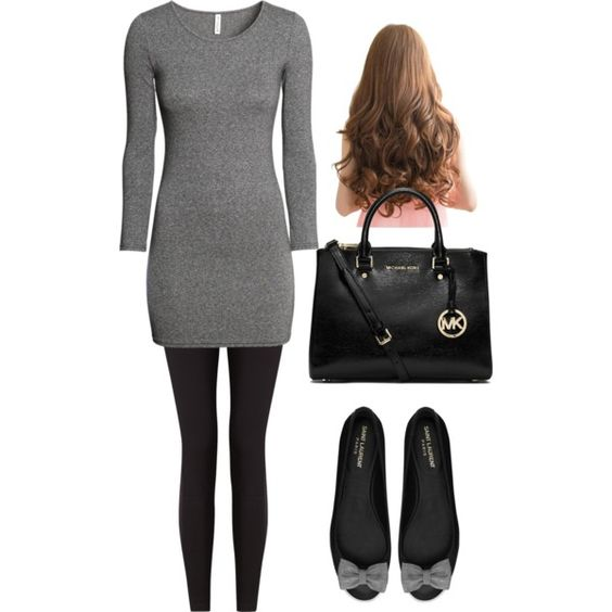 A fashion look from November 2014 featuring H&M dresses, Lyssé Leggings leggings and Yves Saint Laurent flats. Browse and shop related looks.