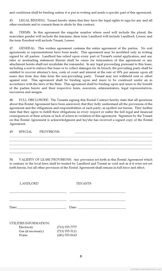 Printable Sample Lease Agreement Form | Sample Basic Legal Forms