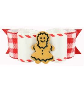 """Christmas Puppy Hair Bows Ms Gingerbread Red/White 5/8"""""""