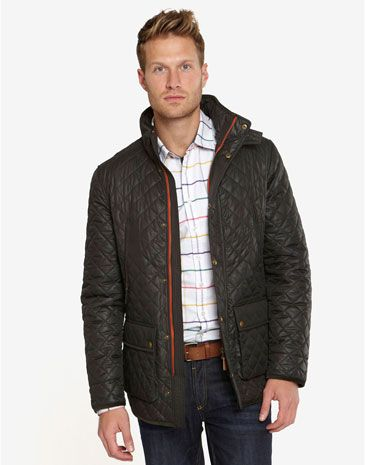 Joules THACKER Mens Wax Effect Jacket with Tweed Shoulder Detail