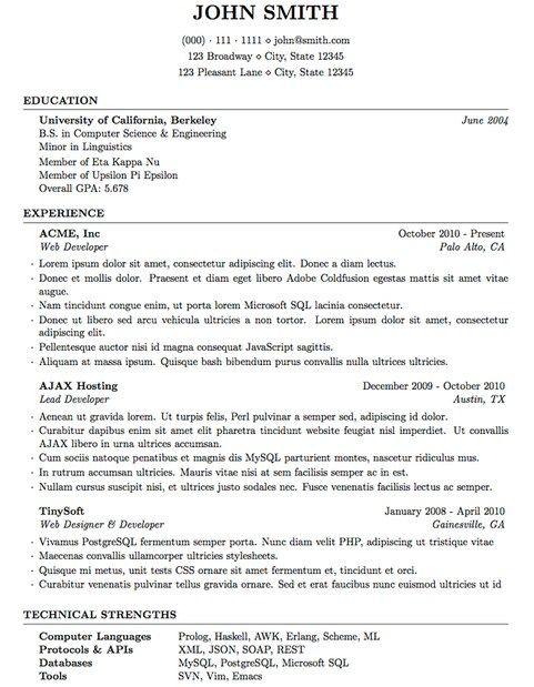 Best Latex Resume Template Latex Resume Template Pinterest - resume latex template