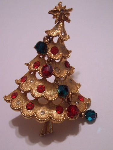 RARE Old Christmas Tree Pin Signed Mylu