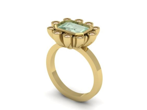 """Computer rendering of the ring, in yellow gold, before we decided to go with rose.   18K Rose Gold Cocktail Ring """"The Colette"""" Ring - features a gorgeous emerald cut 2 carat Green Beryl, surrounded by champagne diamonds. www.emilygill.ca for more custom work"""