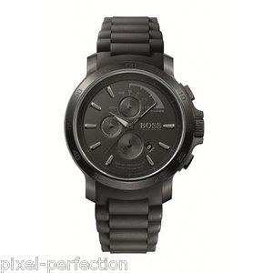 HUGO BOSS Watch Gents Black Silicone 100m Water Resistant Chronograph SO cool looking watch!