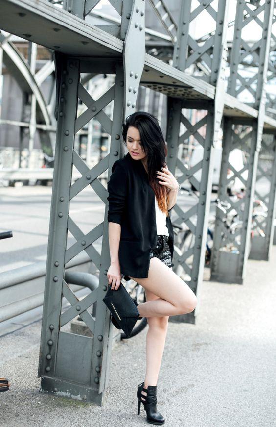 black blazer with sequin shorts