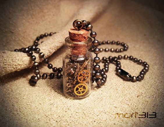 Steampunk Gears Bottle Pendant. Glass Vial Necklace. by morfart
