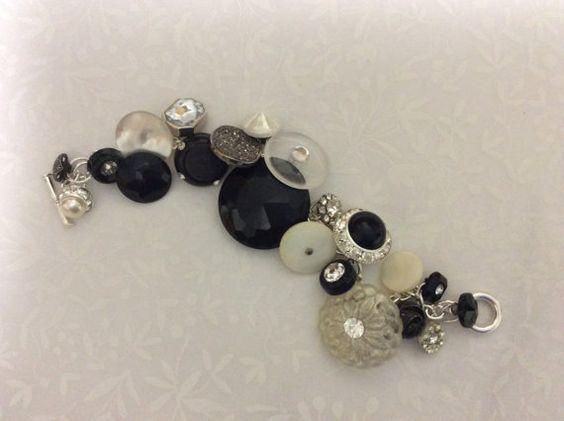 Antique vintage button bracelet  Black & White by Fruitjarstudio, $45.00