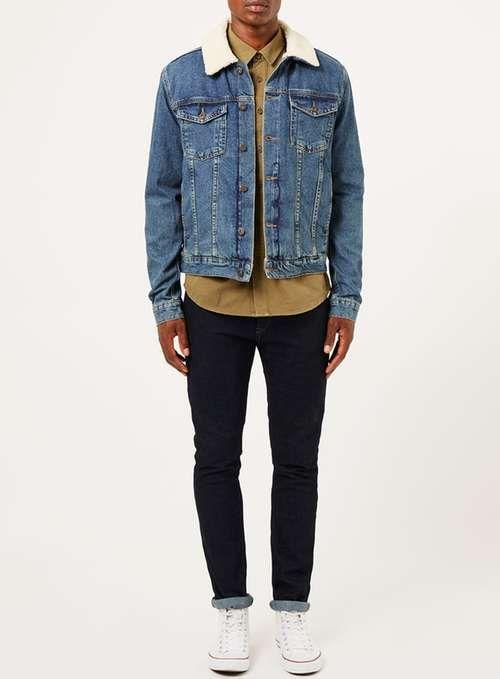 Blue Borg Denim Jacket - Men's Coats & Jackets - Clothing - TOPMAN