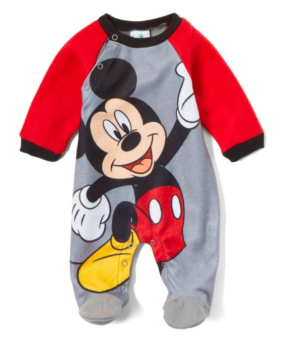 Red & Gray Mickey Mouse Footie