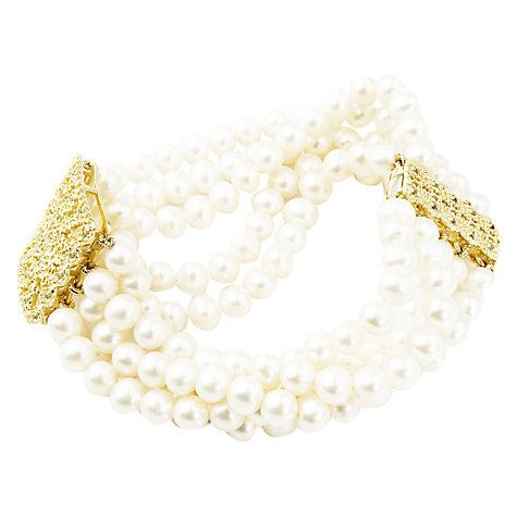 Buy A B Davis 9ct Gold Plated 5 Row Freshwater Pearl Bracelet, Gold Online at…