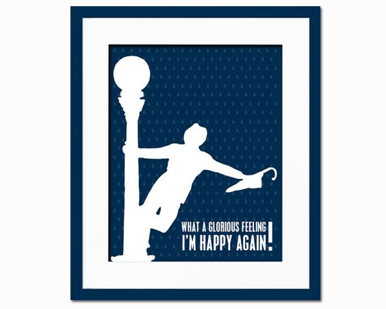 What a Glorious Feeling, I'm Happy Again - Art Print - Singing in the Rain - Movie Typography Poster - 8 x 10 Wall Decor