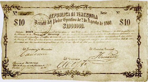 Pieza brv10ps-aa01c2-d4 (Anverso). Billete de la República de Venezuela. 10 Pesos sencillos. Diseño A, Tipo A. Provincia de Yaracuy. Fecha Noviembre 27 1860. Serie D4