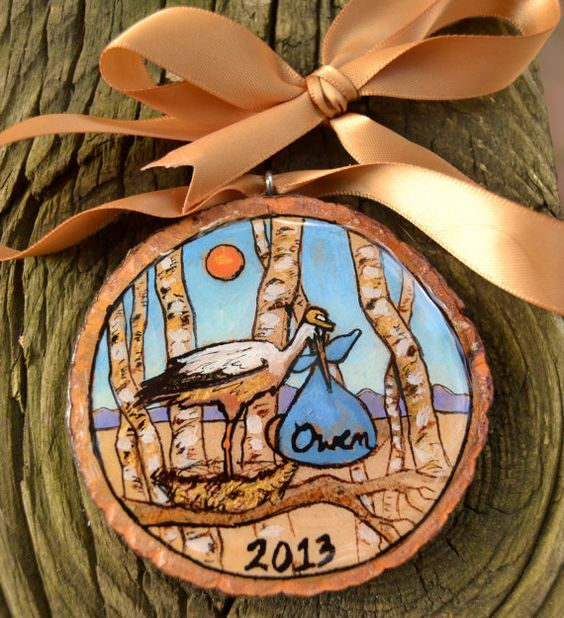 baby's first christmas ornament, personalized hand painted on wood slice