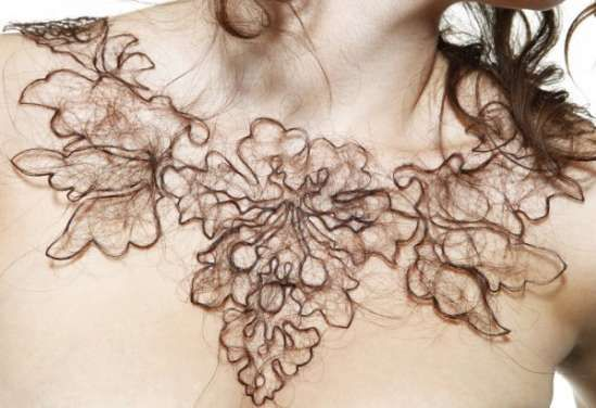 Kerry Howley human hair jewelry - Kerry Howley Attraction/Aversion is a material exploration of how people can feel seemingly opposing emotional responses simultaneously. The necklaces are made of human hair, a familiar material that we take pride in. However once off of the body hair becomes an innate source of aversion.: