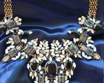 Marvelous blue statement necklace chocker necklace by Maevashop