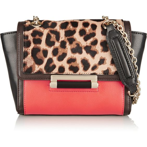Diane von Furstenberg 440 mini leather and leopard-print calf hair... ($200) ❤ liked on Polyvore featuring bags, handbags, shoulder bags, diane von furstenberg, leopard print, handbags purses, hand bags, purse shoulder bag, mini shoulder bag and leather shoulder bag