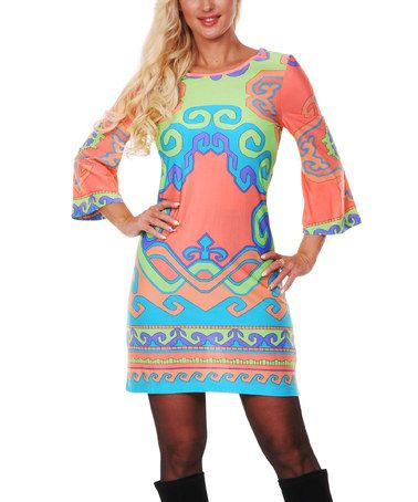 Another great find on #zulily! Coral & Green Abstract Wave Scoop Neck Dress - Women #zulilyfinds