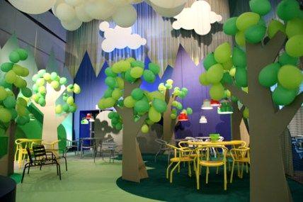 Rboles con cart n y globos ballooms and cardboard trees - La factoria plastica ...