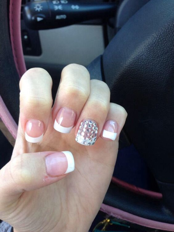 French tips with bling on ring finger