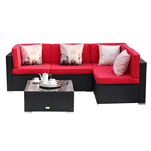 U Eway 5 Piece Outdoor Patio Furniture Sets Wicker Ratten Sectional Sofa With Seat Cushions Black Outdoor Patio Furniture Sets Furniture Patio Furniture Sets