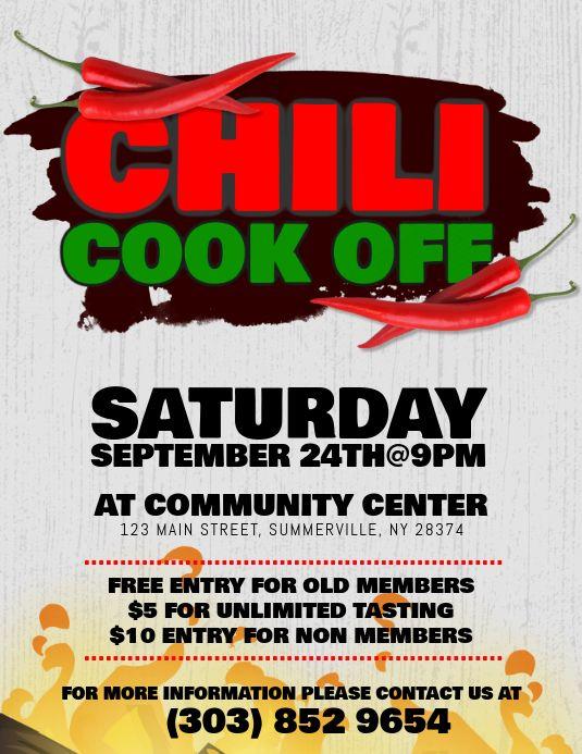 Chili Cook Off Flyer Chili Cook Off Cook Off Invitation Template
