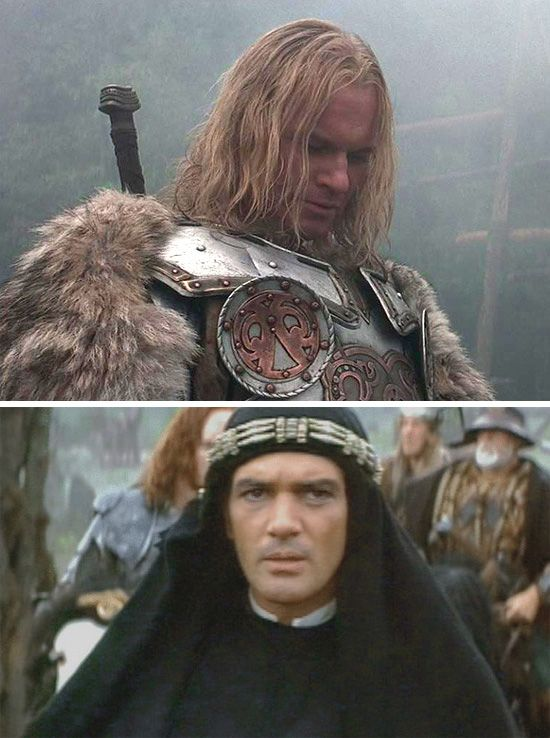 """The 13th Warrior (1999) Starring: Vladimir Kulich as Buliwyf and Antonio Banderas as Ahmad ibn Fadlan. Arriving in King Hrothgar's village and finding it unfortified and undependable. """"Women, children … nary a man between 15 and 50"""" ~ Hyglak"""