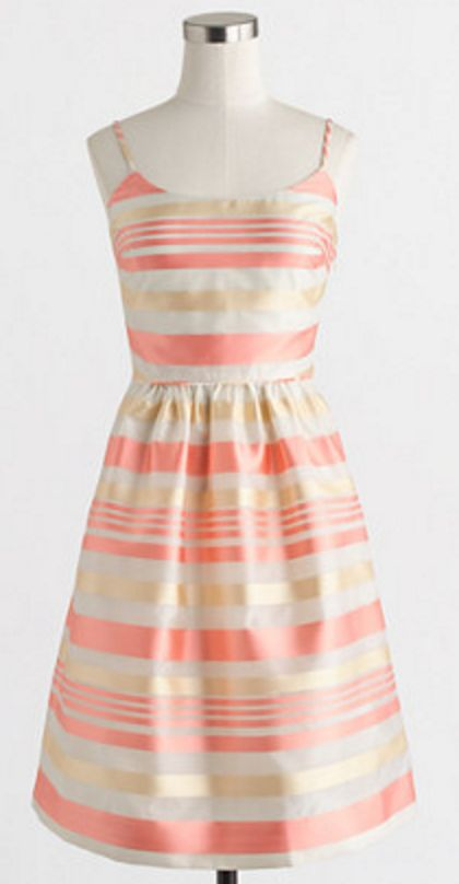 Pink and Gold Metallic Stripe Dress