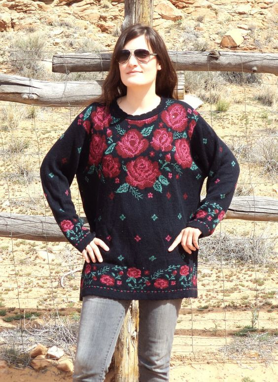 1990s Black Floral Grunge Sweater by MagicUnicornVintage on Etsy, $15.00