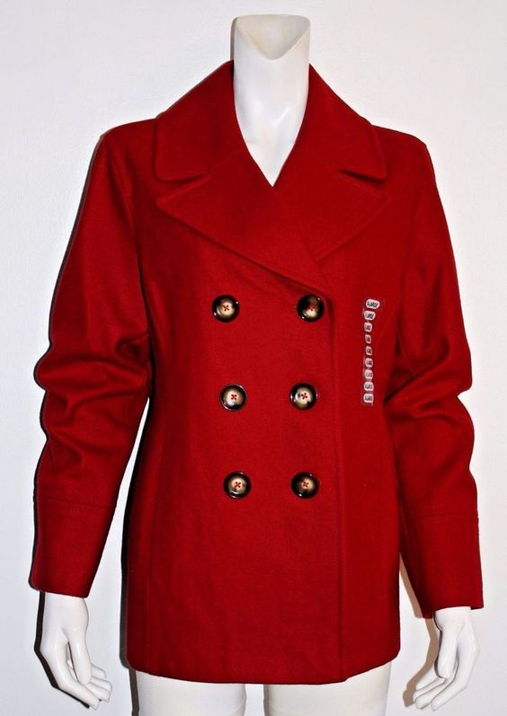 Michael Kors Red Double Breasted Fully Lined Wool Peacoat Size XL NWT…