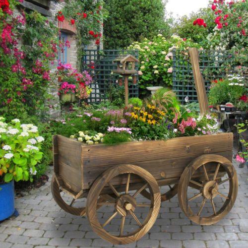 Garden Wood Wagon Flower Planter Pot Stand With Wheels Home Outdoor Decor Flower Planters Wagon Planter Decorative Bird Houses