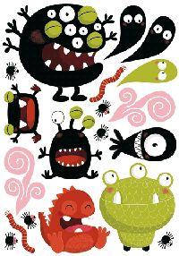 Les Contemplatives, Stickers enfants monstres rigolos - Autocollants muraux