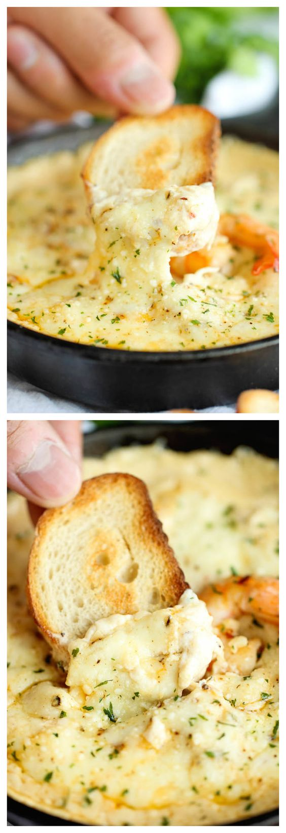 The Shrimp Scampi Dip mixture is spooned into a greased 2 qt baking dish or a large cast iron skillet. This does make quite a bit of dip — about 2 1/2 lbs worth — so it's plenty for a party. Top with panko breadcrumbs to finish it off.