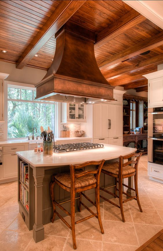 French Country Inspired Kitchen. Beautiful ceiling and range hood #French #Country #Kitchen #kitchendesigns