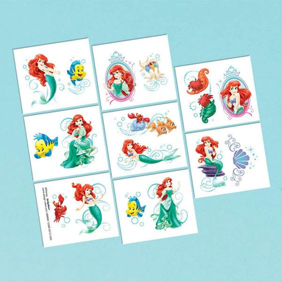 The Little Mermaid Temporary Tattoos | 16 ct