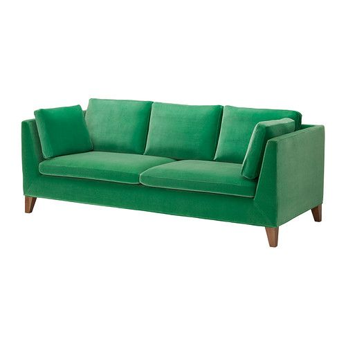 STOCKHOLM Three-seat sofa - Sandbacka green  - IKEA.  Nice, but a bit too big for the living room.  Like the idea of a velvet bright coloured sofa though!