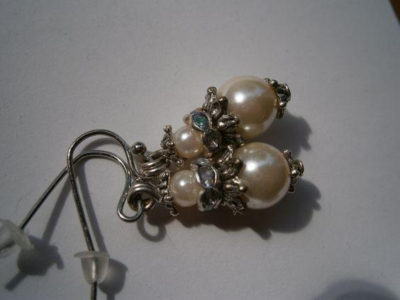 Perlenohrringe, Brautschmuck von kunstpause auf DaWanda.com