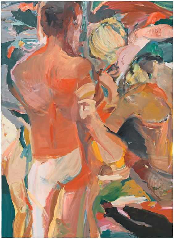 CECILY BROWN For this as yet untitled 2015 oil-on-linen painting, the British artist, who tends to be inspired by other artworks rather than by models, borrowed from two works by the German Expressionist Max Beckmann, ''Young Men by the Sea'' and ''The Argonauts,'' featuring groups of standing men. Credit Photo by Genevieve Hanson, courtesy of the artist: