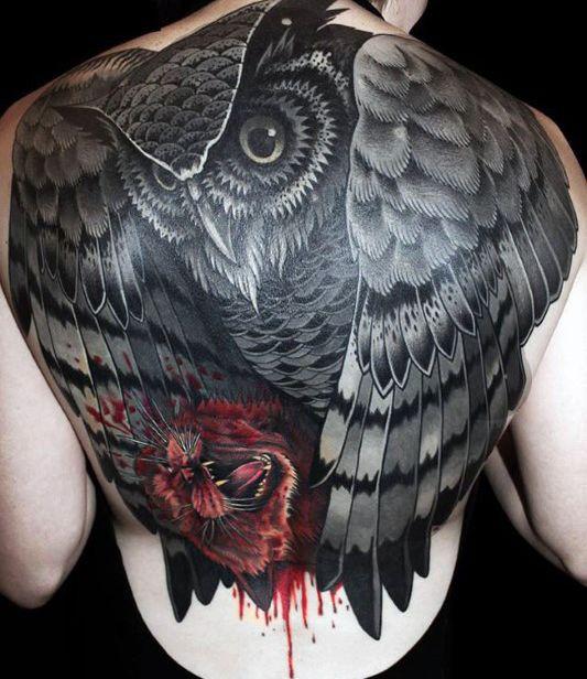 Black Owl Tattoo Men Back   owl tattoo   Pinterest   Owl, Tattoos ...