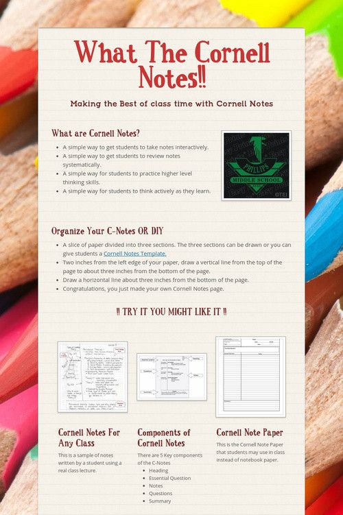 What The Cornell Notes!! AVID STUFF and Things Pinterest - sample cornell note