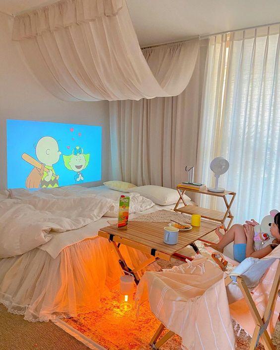 プロジェクター 子供部屋 寝室 短焦点 インテリア イメージ
